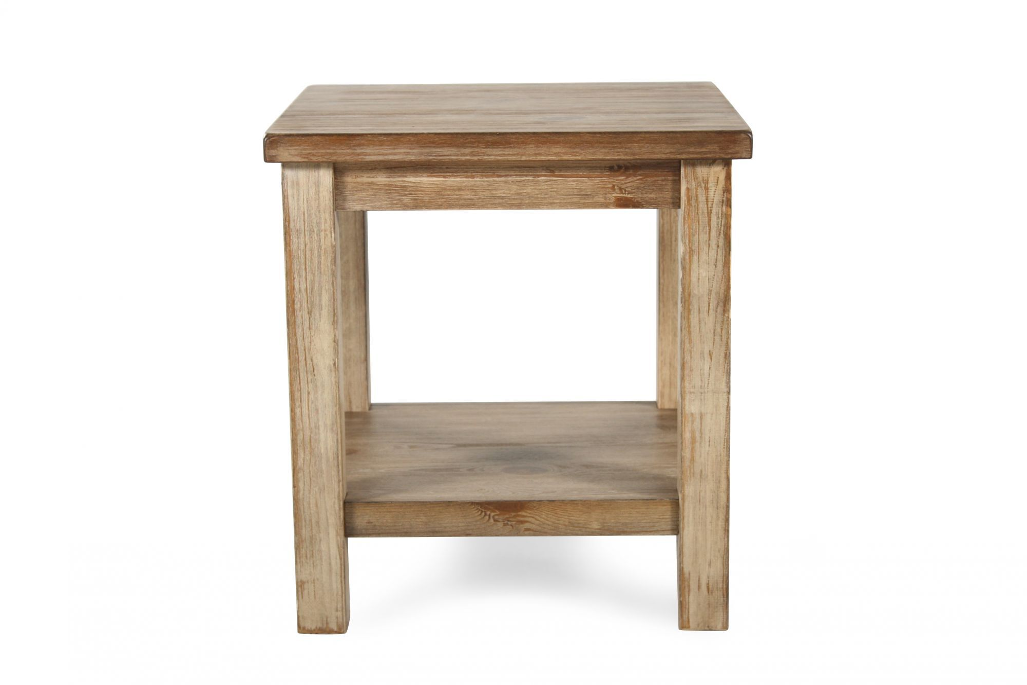 ... Open Shelf Rustic Farmhouse End Table In Blond Pine ...