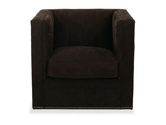 """Nailhead-Accented 33"""" Swivel Chair in Brown"""