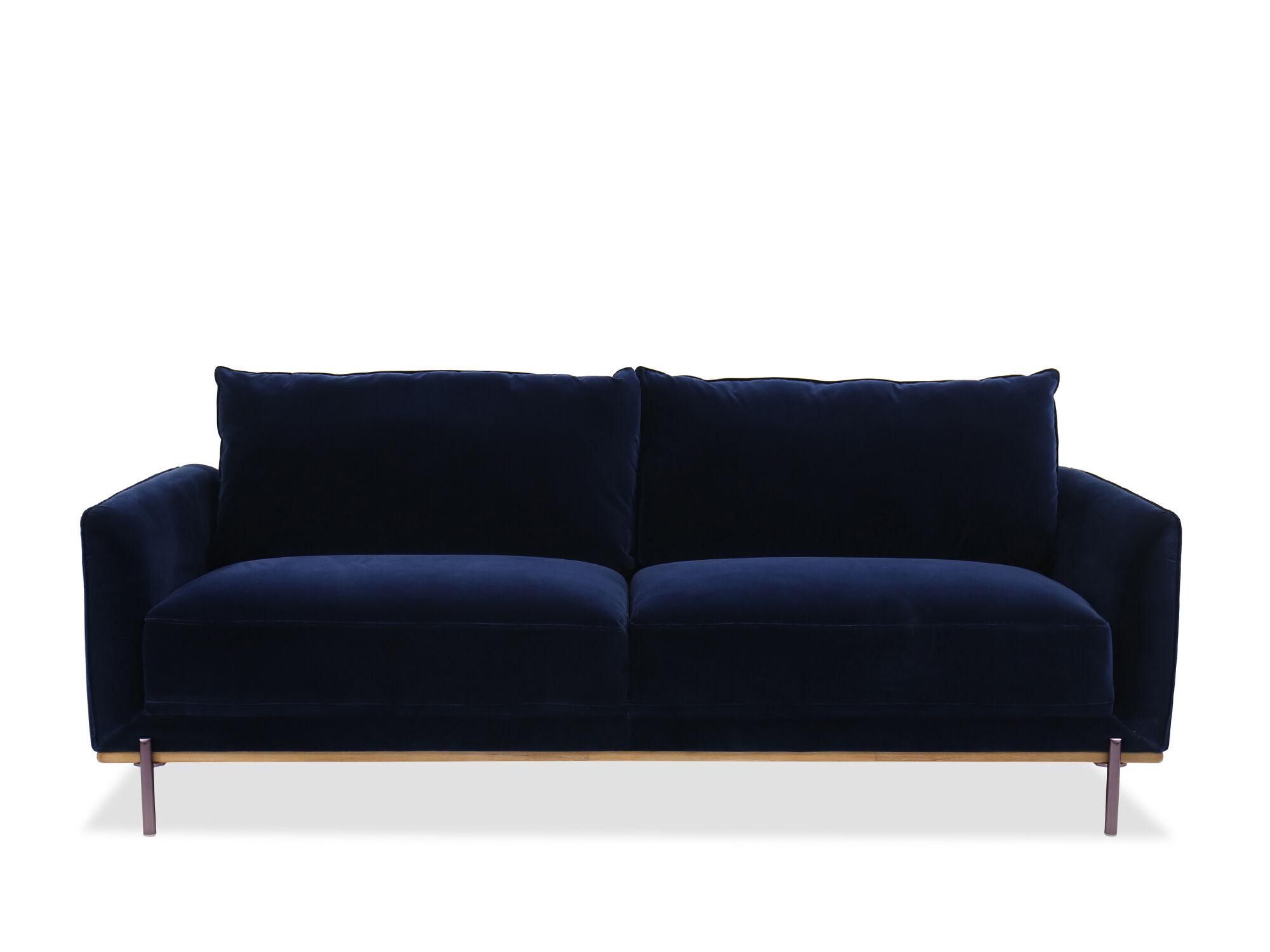 Casual Velvet Sofa In Blue ...