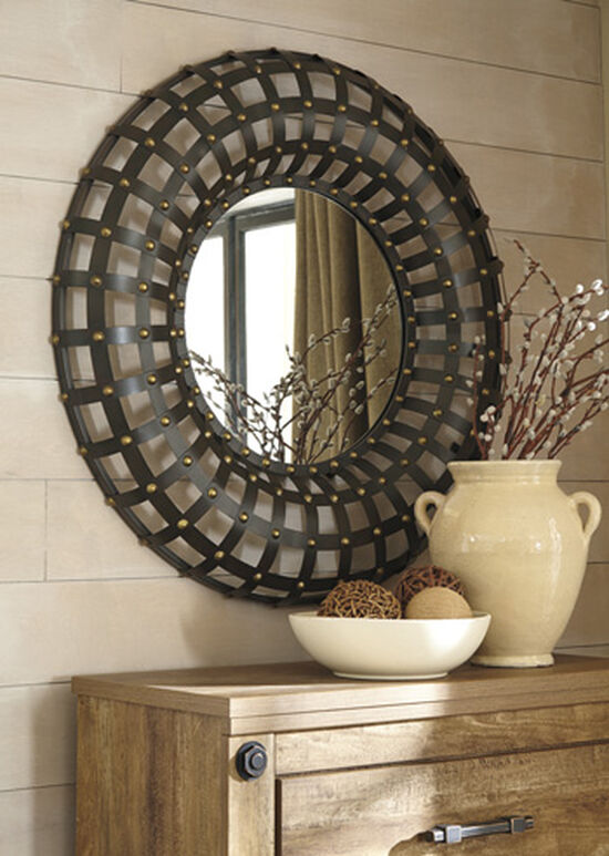 "36"" Casual Gridwork Detailed Accent Mirror in Brown"