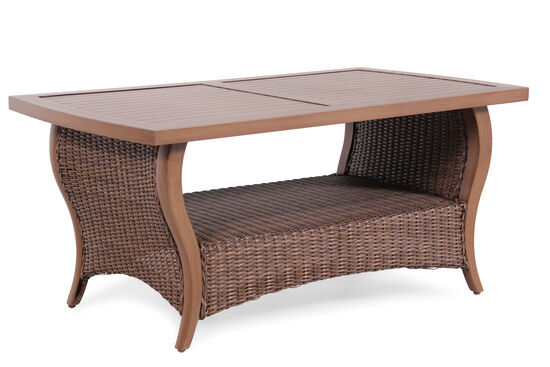 Display Shelf Contemporary Coffee Table in Medium Brown