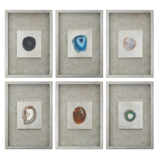 Six-Piece Mottled Agate Stone Wall Art in Silver Champagne