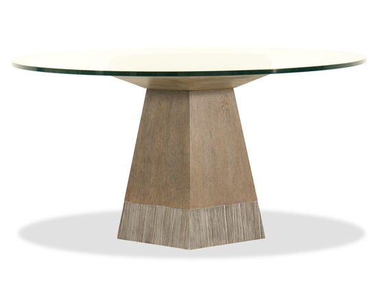 "Modern 60"" Glass Top Dining Table in Medium Oak"