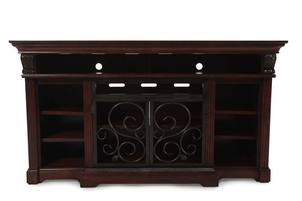 Nine-Shelf Traditional Entertainment Stand in Warm Brown