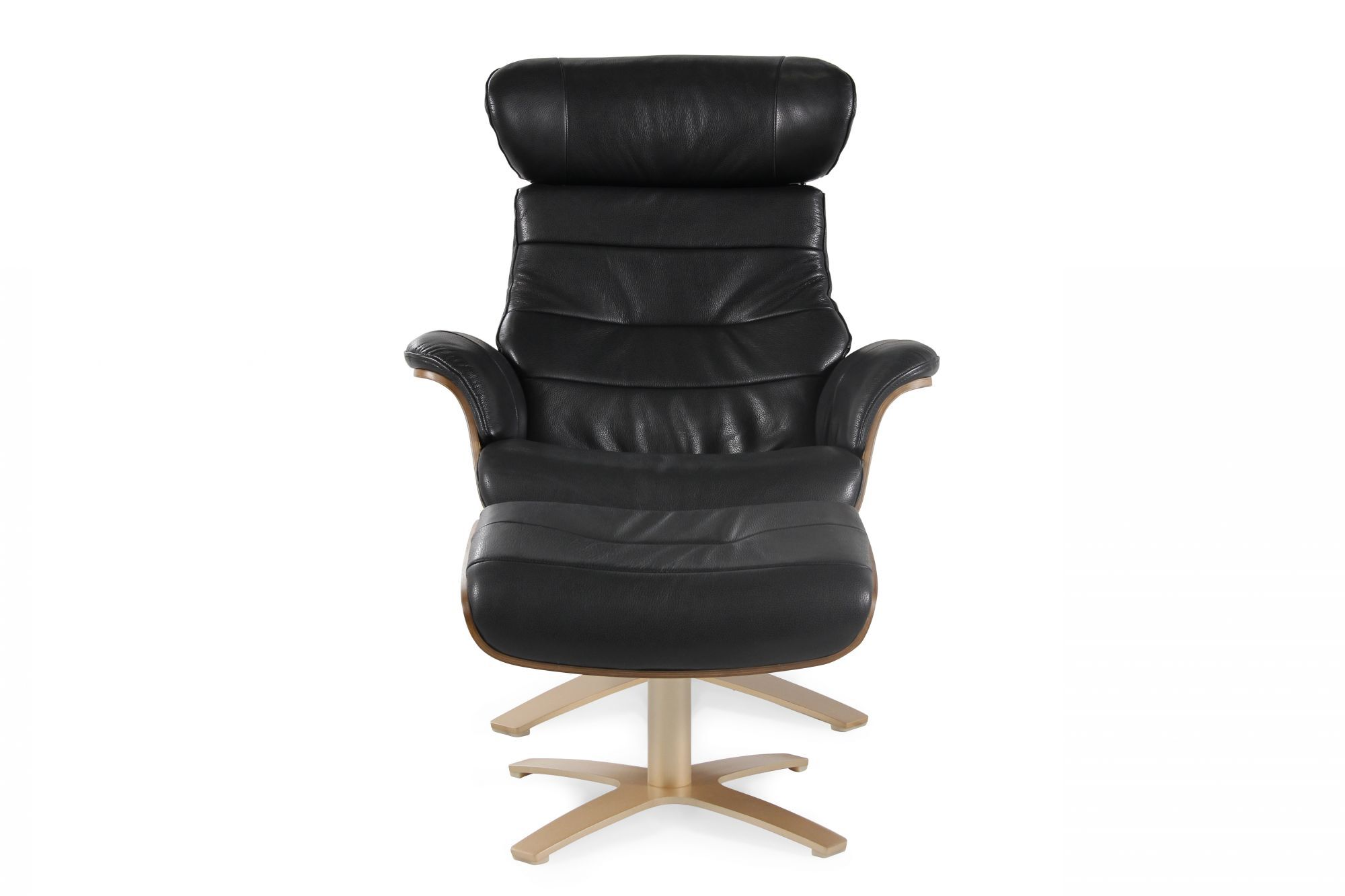Boulevard Black Leather Swivel Recliner and Ottoman  sc 1 st  Mathis Brothers & Boulevard Black Leather Swivel Recliner and Ottoman | Mathis ... islam-shia.org