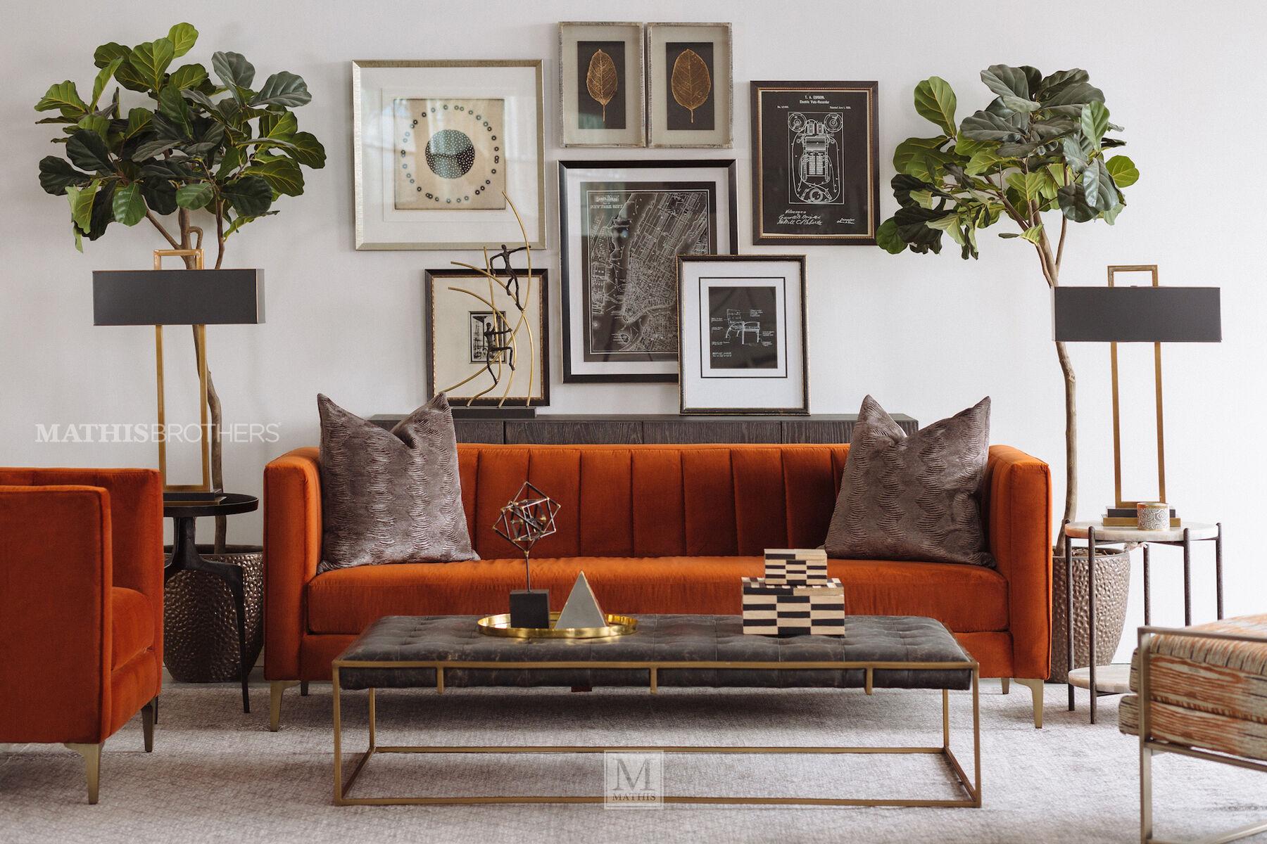 Lovely ... Channel Tufted Velvet Sofa In Orange Crush