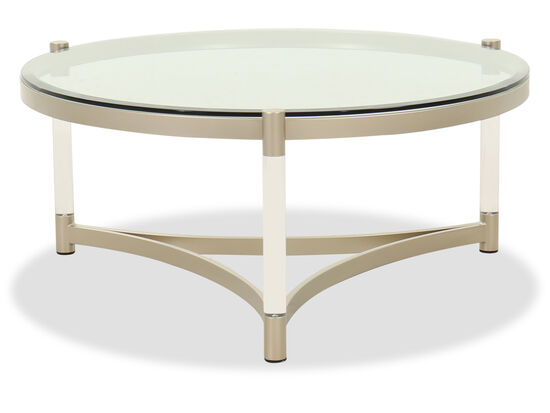 Round Contemporary Cocktail Table in Platinum