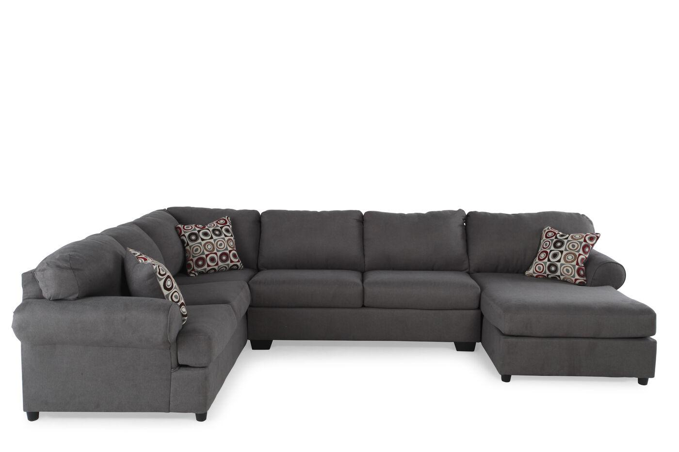 Three piece microfiber 93quot sectional in dark gray mathis for 3 piece microfiber recliner sectional sofa
