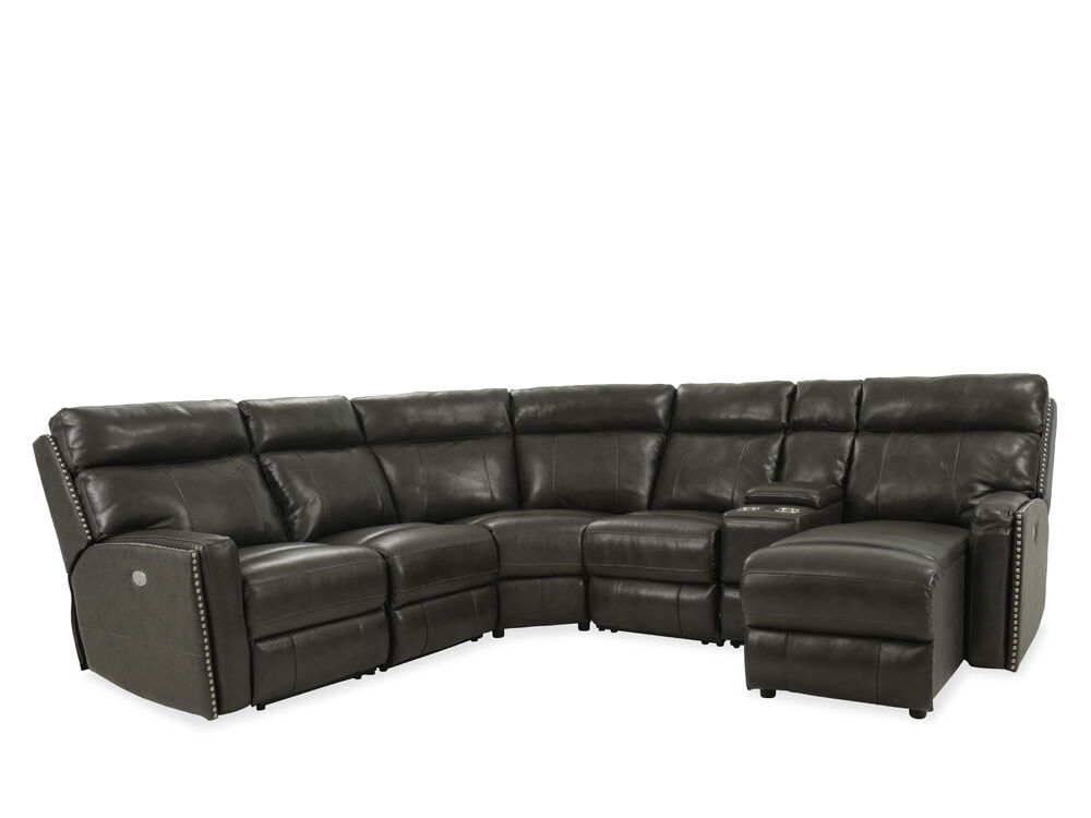 Six-Piece Leather Power Reclining Sectional in Black ...