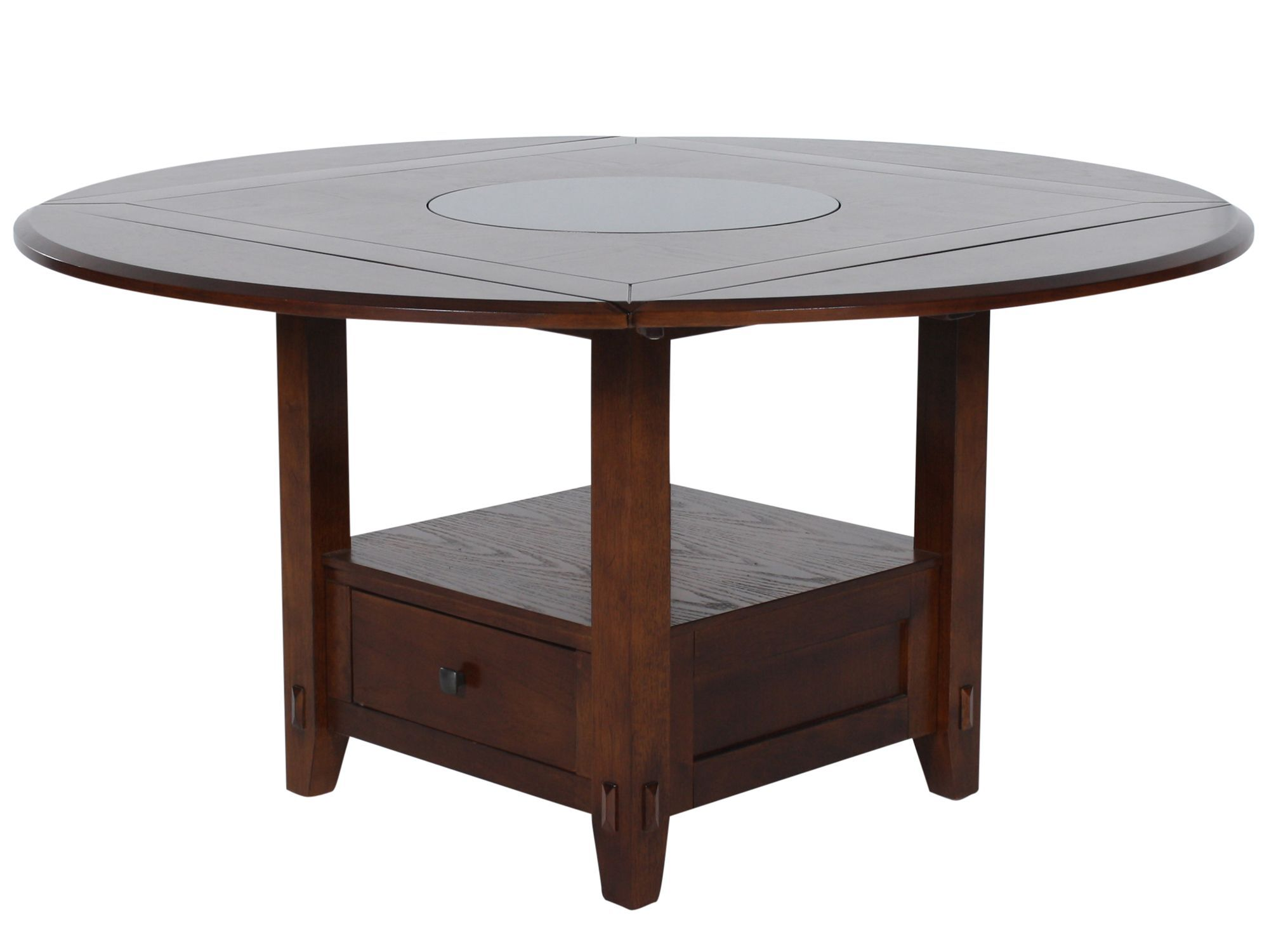 Country 42u0026quot; To 60u0026quot; Storage Pedestal Lazy Susan Dining Table In  Distressed Walnut