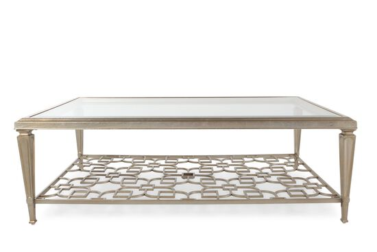Tempered glass top contemporary cocktail table in metallic for Contemporary glass cocktail tables