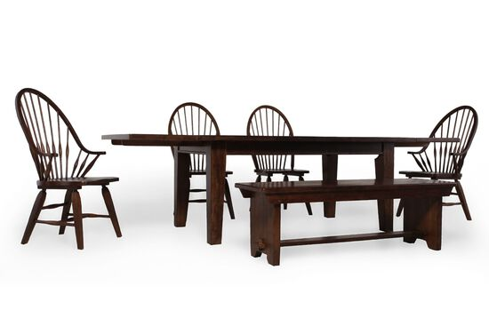 Six-Piece Solid Oak 108'' Dining Set in Rustic