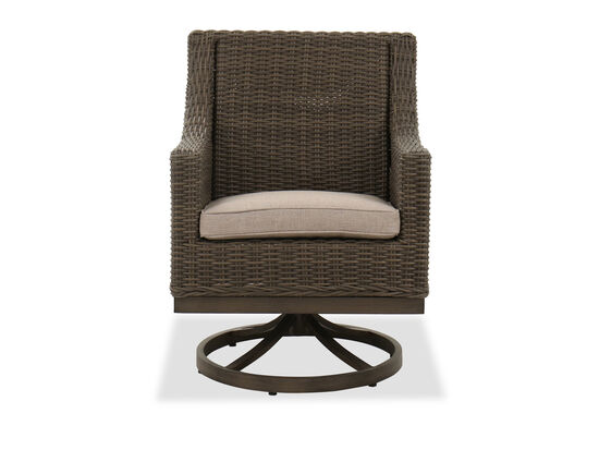 Wicker Contemporary Patio Dining Swivel Chair in Brown