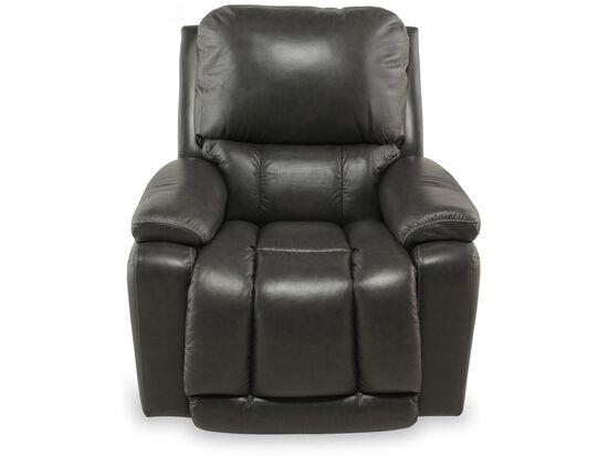 "Traditional Leather 37.5"" Power Recliner in Gray"