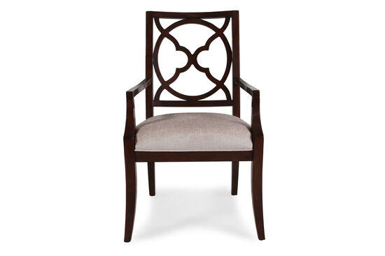 Two-Piece Fretback 40'' Arm Chair Set in Dark Walnut