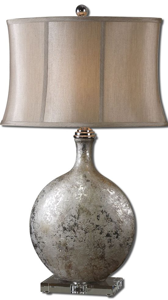 Distressed Ball Base Table Lamp in Silver