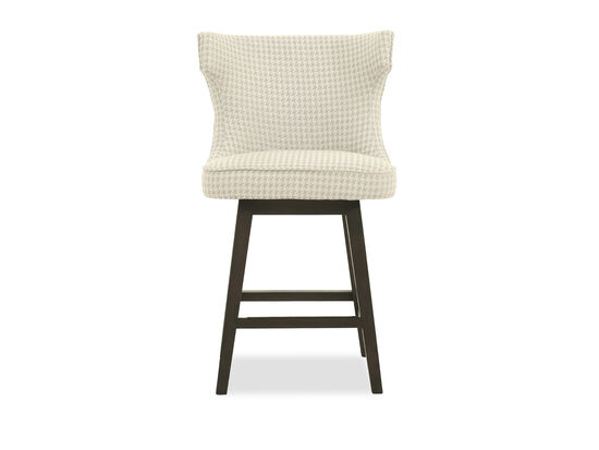 """Casual 39"""" Houndstooth Patterned Bar Stool in Cream"""