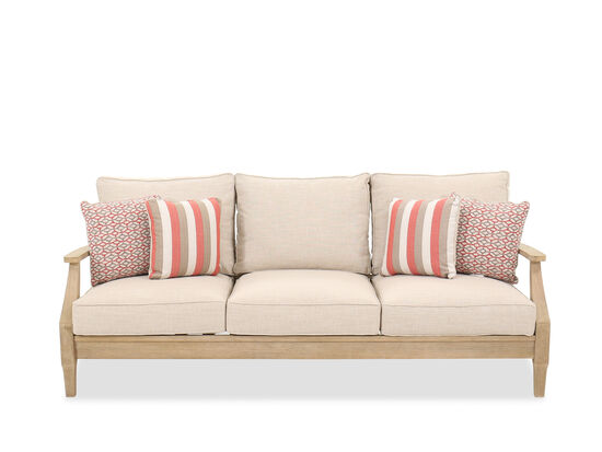 Contemporary Three-Cushion Patio Sofa in Oatmeal