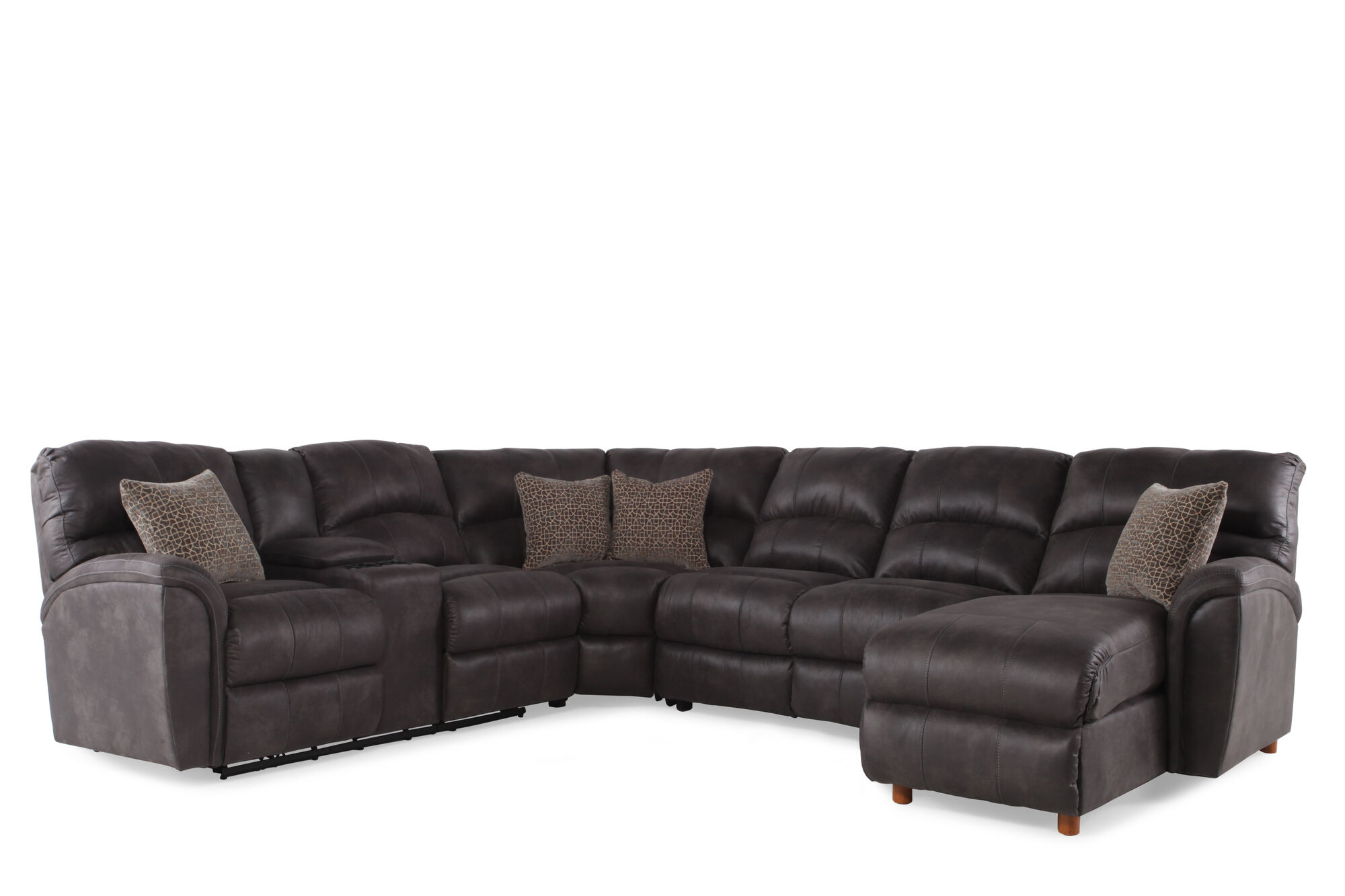 Microfiber 118 Power Reclining Sectional In Gray Mathis Brothers