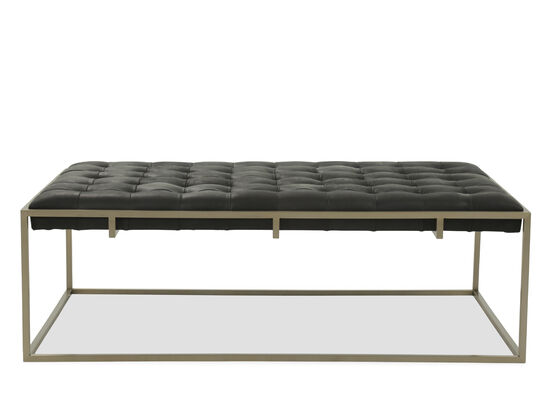 Tufted Leather Cocktail Ottoman in Black