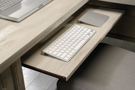 """65"""" Contemporary L- Shaped Desk in Chalked Chestnut"""