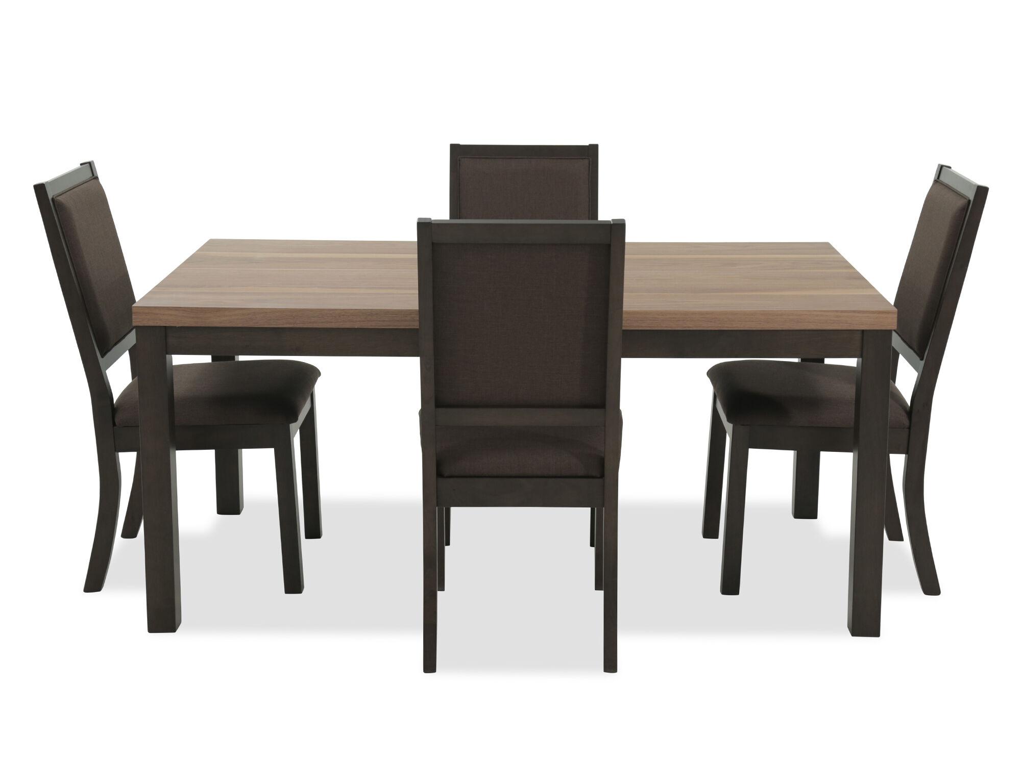 Five Piece Contemporary 66u0026quot; Slab Top Dining Set In Dark ...