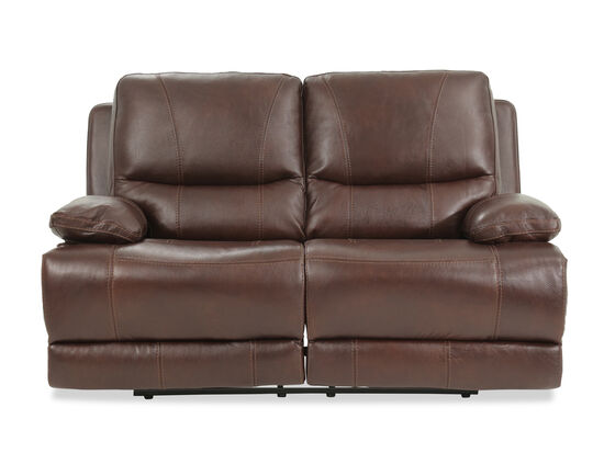 "Power Reclining Casual Leather 66"" Loveseat in Brown"