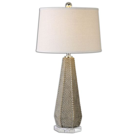 Beaded Round Shade Lamp in Taupe