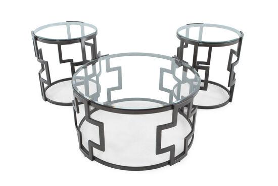 Three-Piece Round Contemporary Table Set in Grey