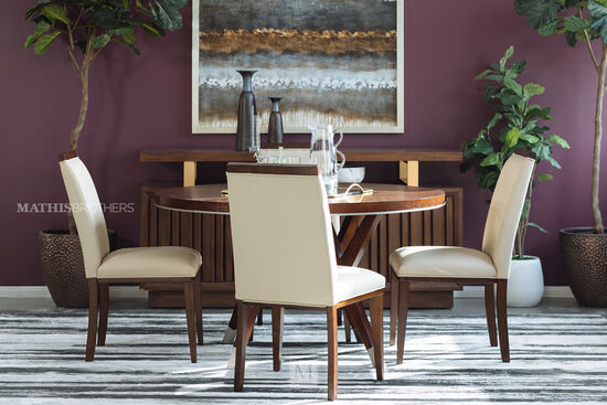 Five-Piece Modern Dining Set in Medium Walnut