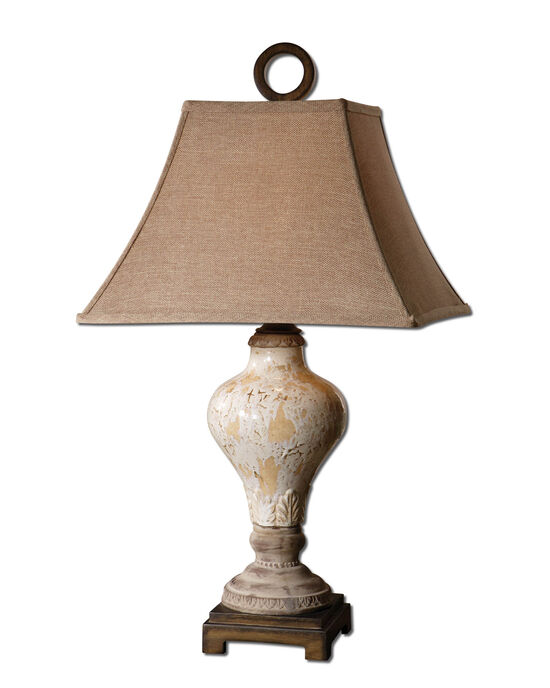 Square Bell Shade Table Lampin Ivory