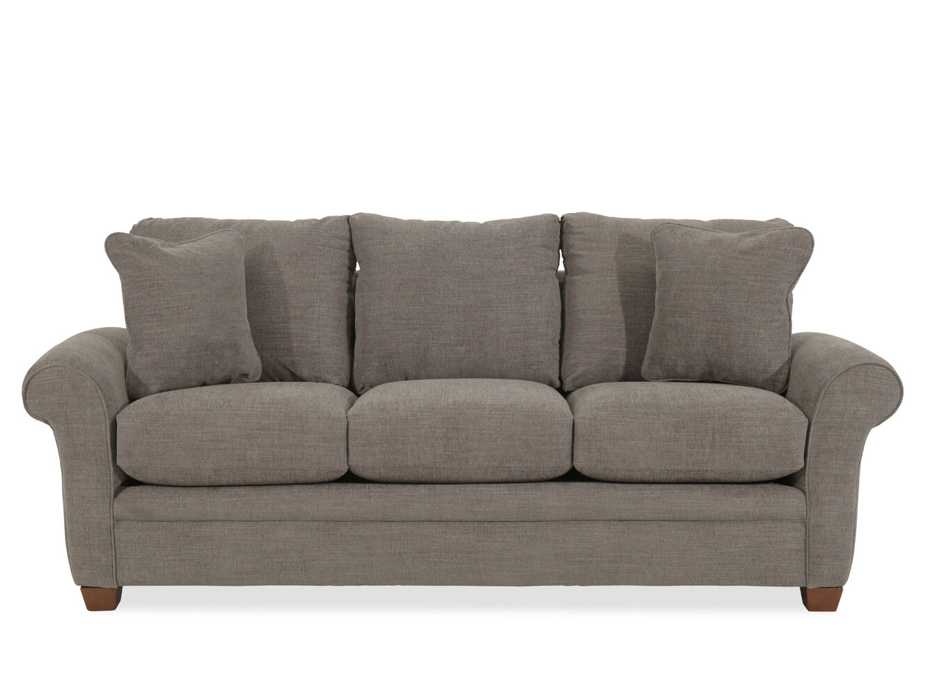 Casual 86quot rolled arm sofa in gray mathis brothers furniture for 86 sectional sofa