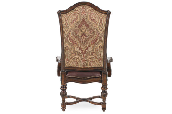 Paisley Back 50'' Arm Chair in Dark Brown
