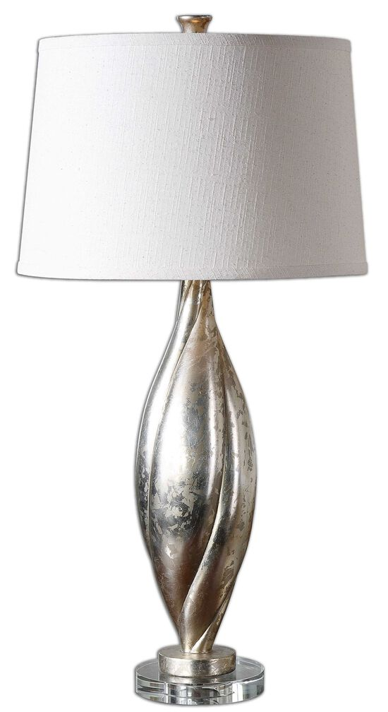 Twisted Round Shade Lamp in Silver Champagne Leaf