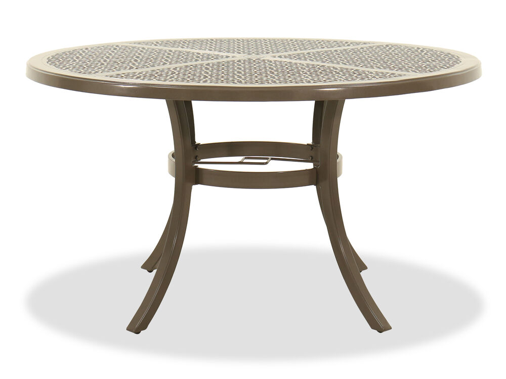 Round Lattice-Top Dining Table in Brown