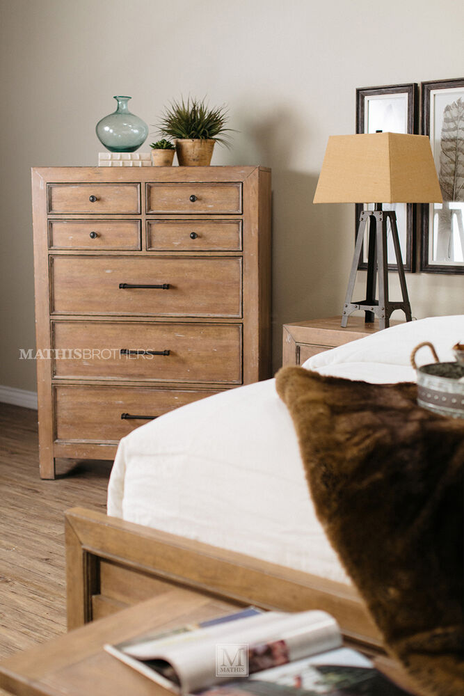 Four Piece Contemporary Bedroom Set In Light Oak Mathis