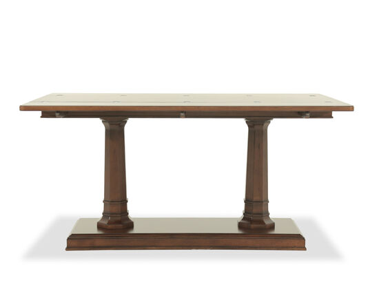 Double Pedestal Traditional Console Table in Brown