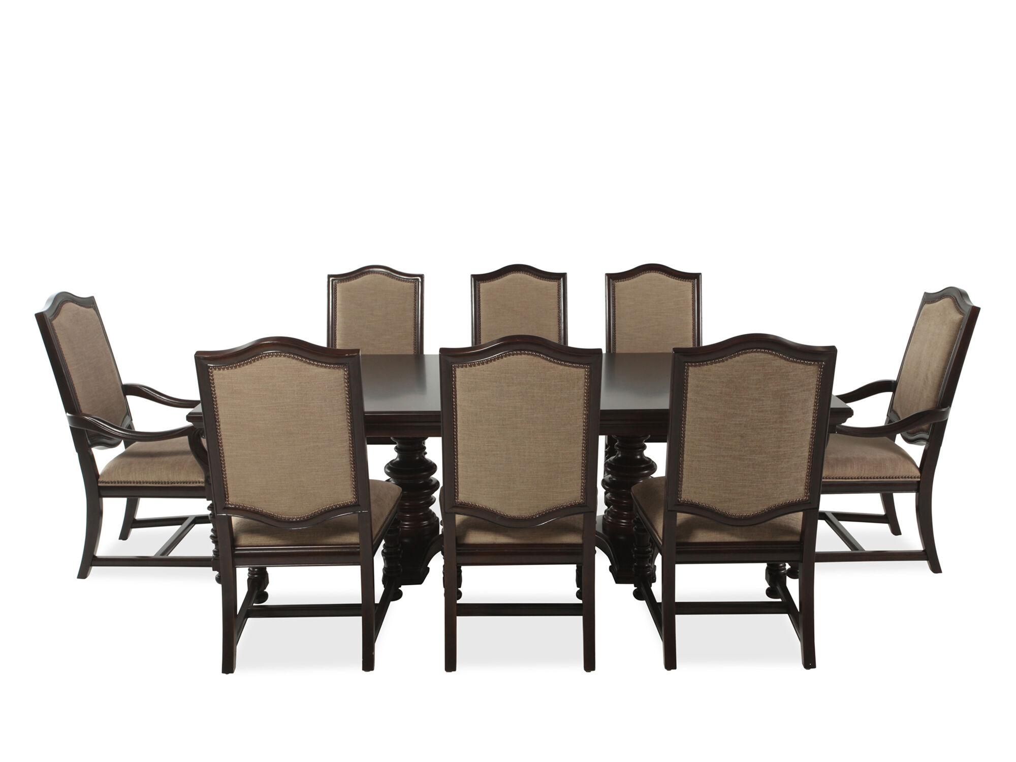 Images Nine Piece Transitional 76u0026#39;u0026#39; Dining Set In Coffee