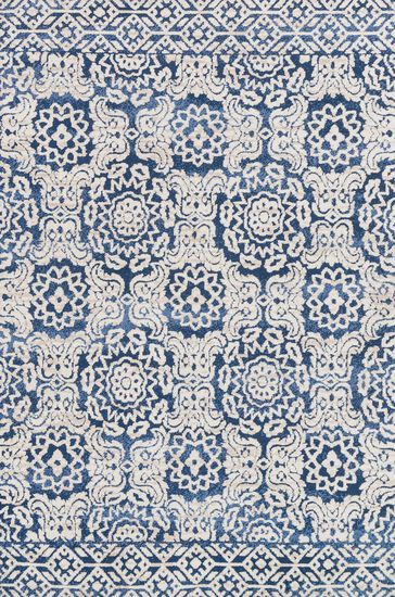"Contemporary 2'-3""x3'-9"" Rug in Blue/Ant. Ivory"