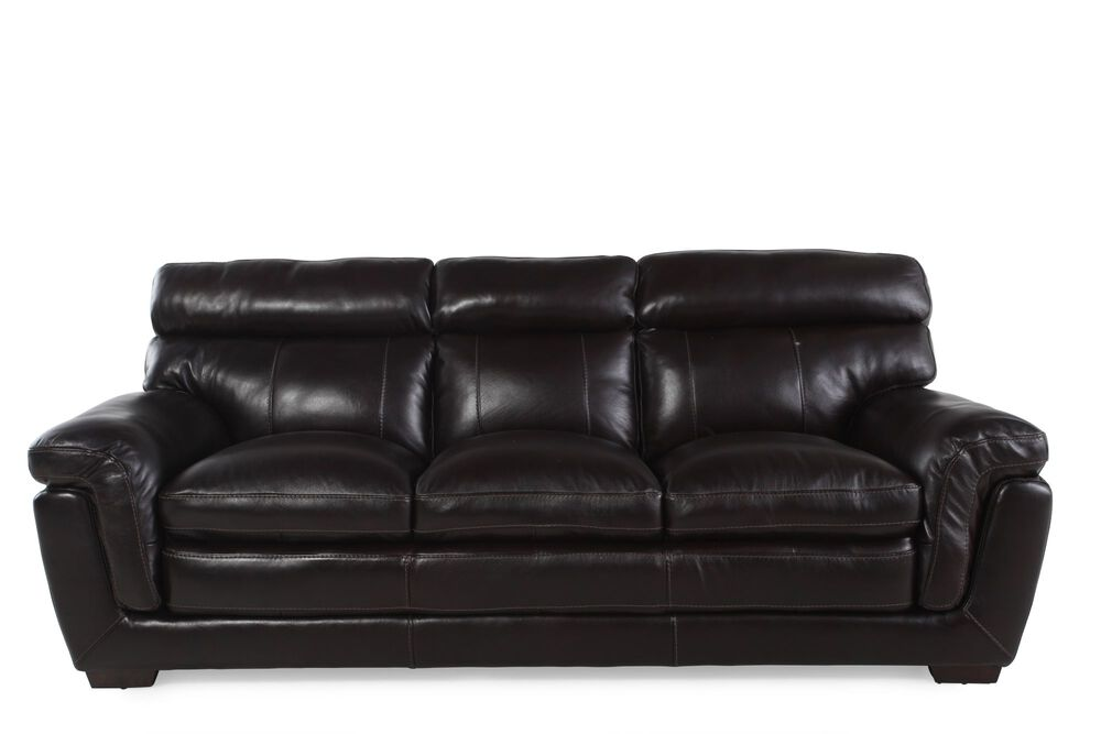 Images Contemporary Leather 91 Sofa In Blackberry