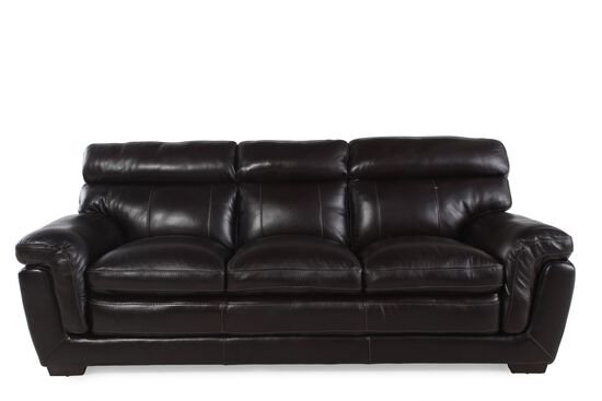 """Contemporary Leather 91"""" Sofa in Blackberry"""