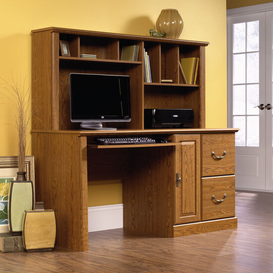 """59"""" Traditional Two-Drawer Computer Desk with Hutch in Carolina Oak"""