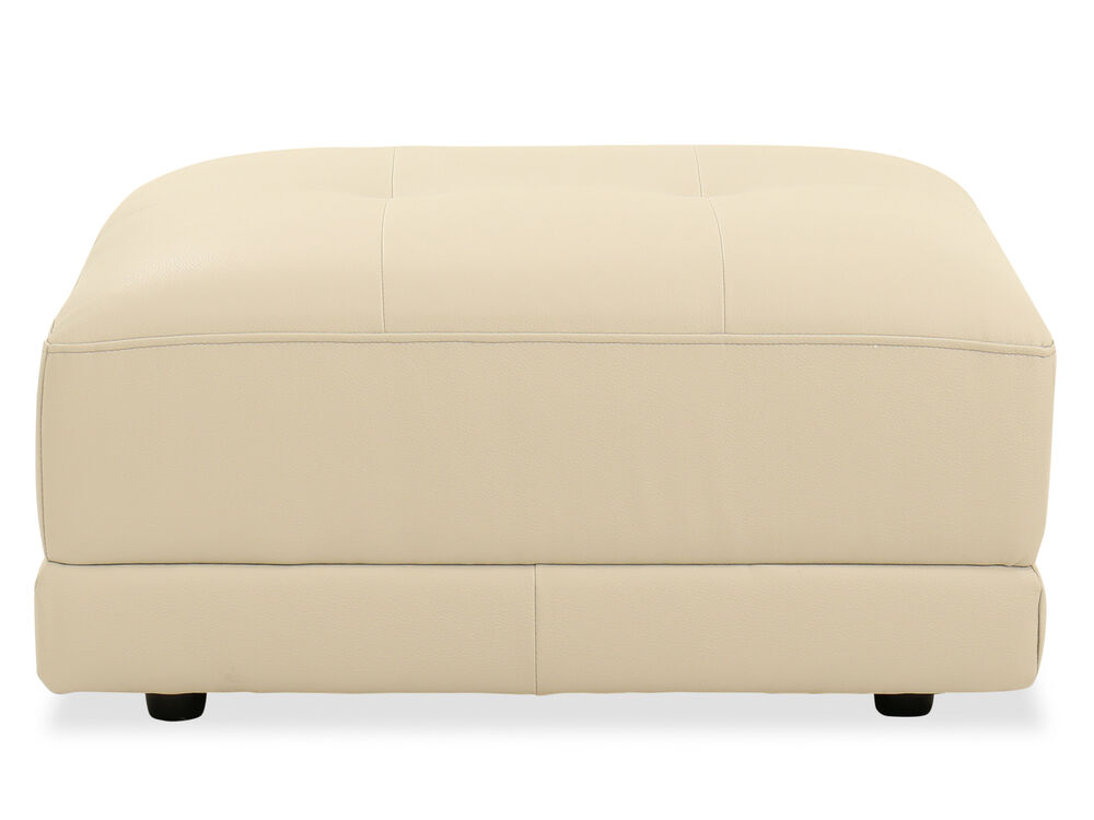 Contemporary Leather Ottoman in Beige
