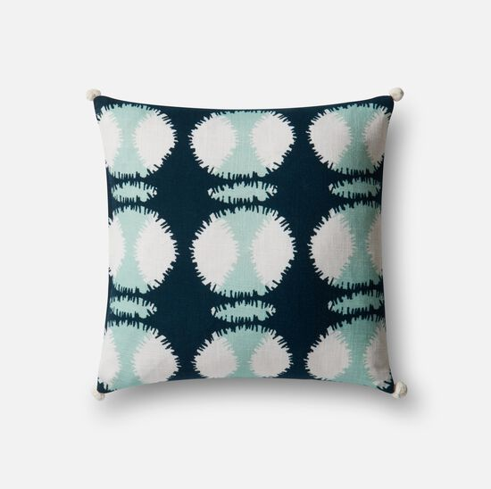 "Contemporary 22""x22"" Cover w/Poly Pillow in Teal/White"