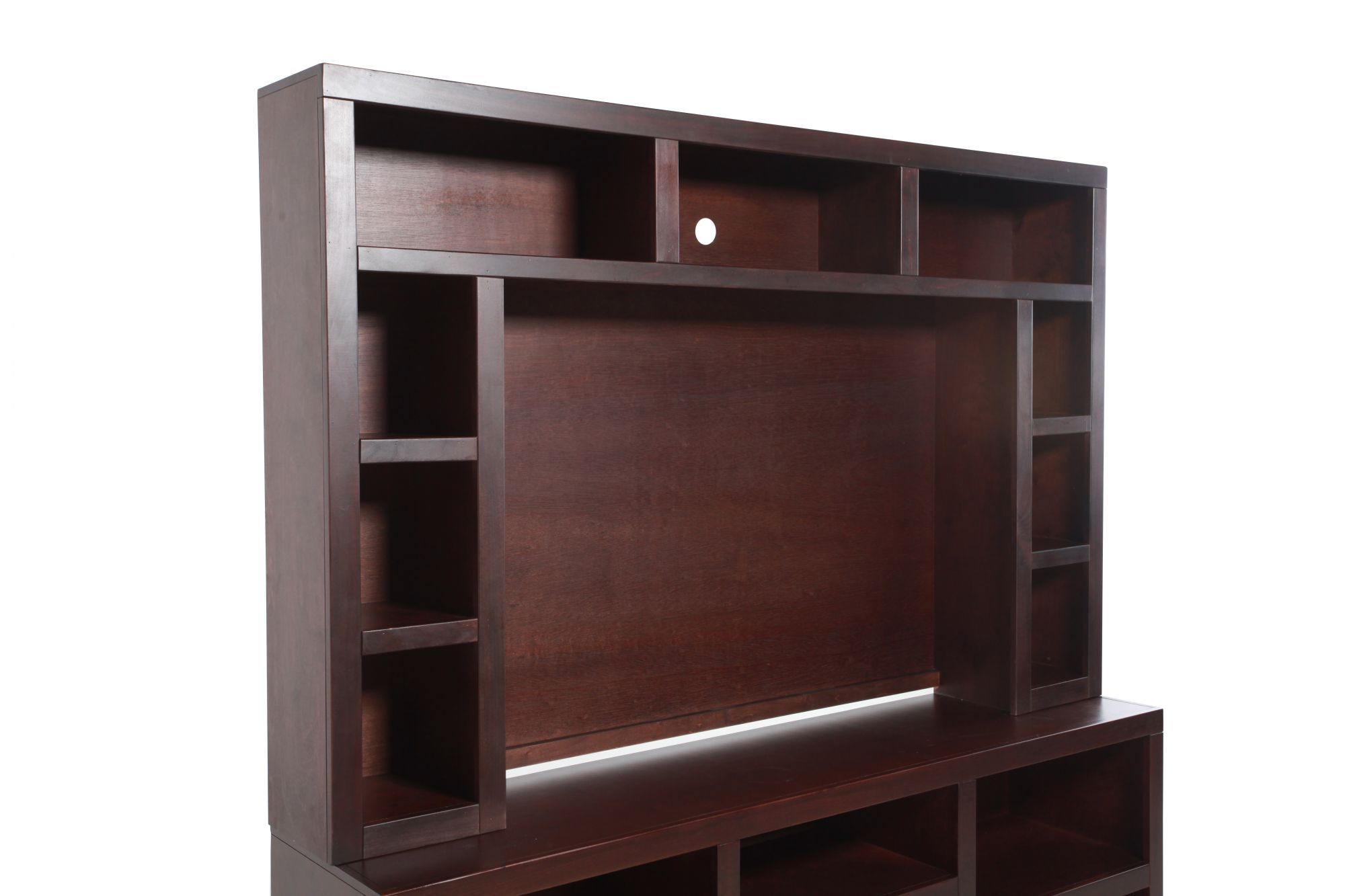 Open Shelves Transitional Entertainment Hutch In Rich Brown Cherry Mathis Brothers Furniture
