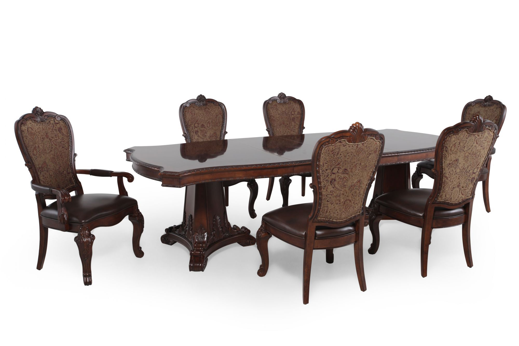 A.R.T. Furniture Seven Piece Old World Pedestal Table Dining Set Part 19