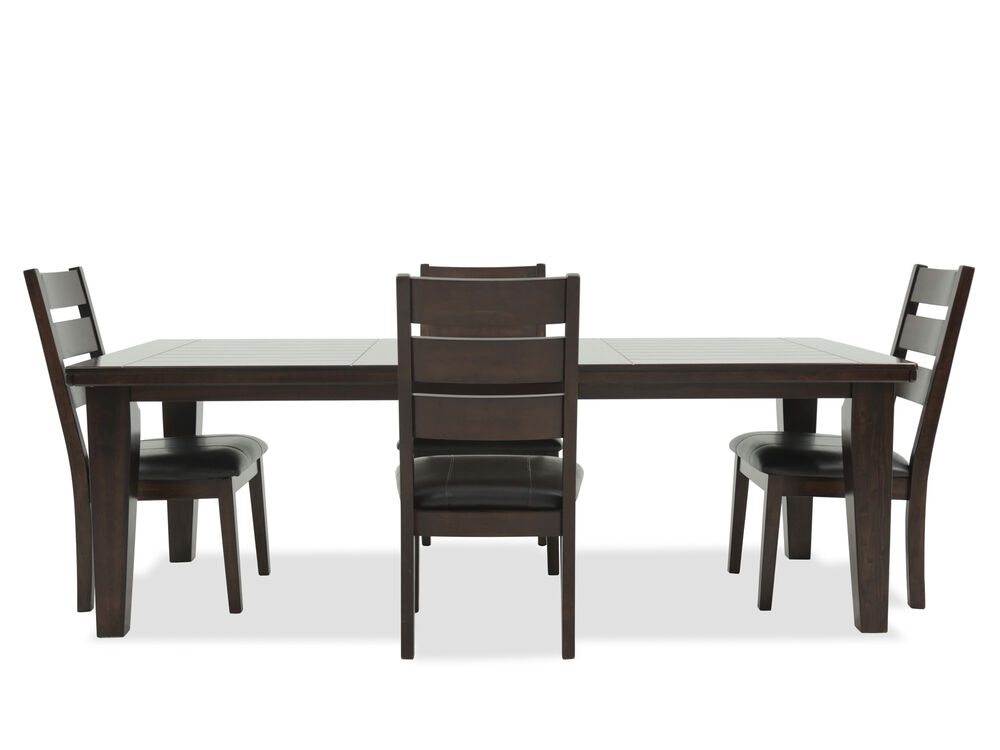 Five-Piece Contemporary Rectangle Extension Dining Set in Dark Brown