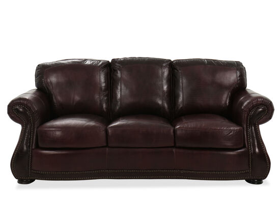 Nailhead-Accented Leather Sofa in Brown