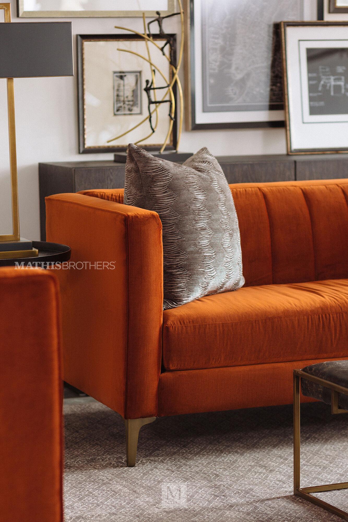 Channel Tufted Velvet Sofa In Orange Crush Mathis Brothers Furniture