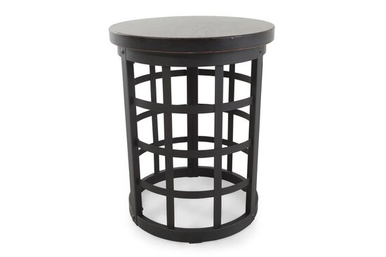 Round Rivet Accented Casual End Table in Black